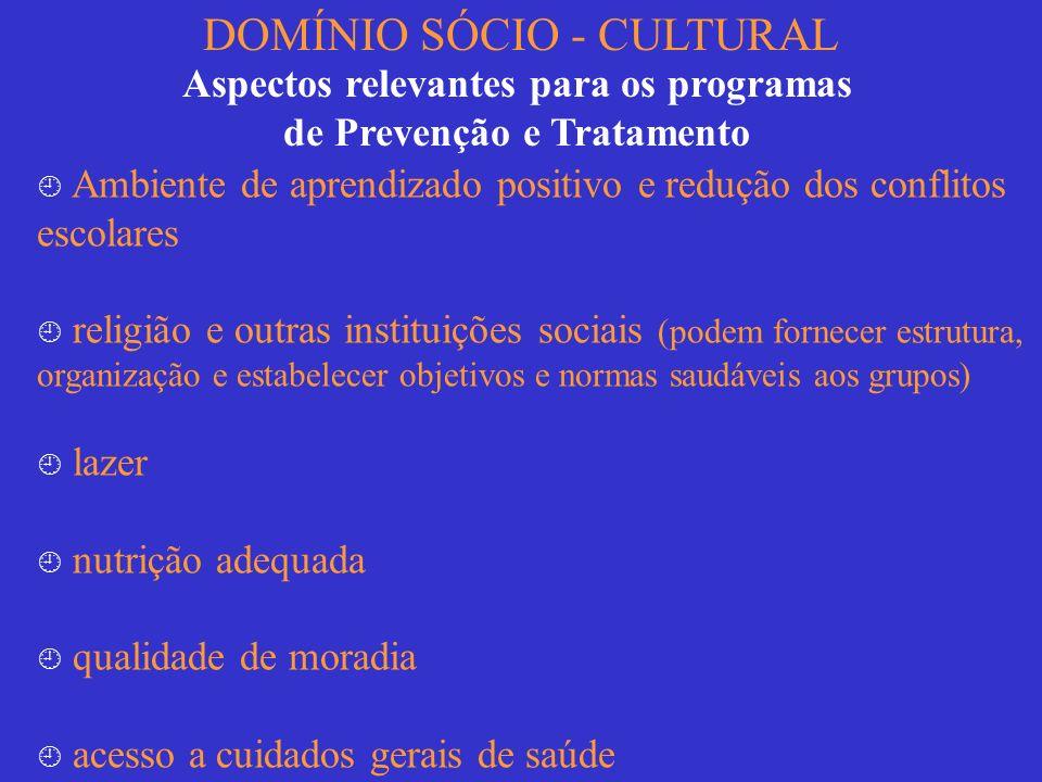 DOMÍNIO SÓCIO - CULTURAL Aspectos relevantes para os programas de Prevenção e Tratamento Ambiente de aprendizado positivo e redução dos conflitos esco