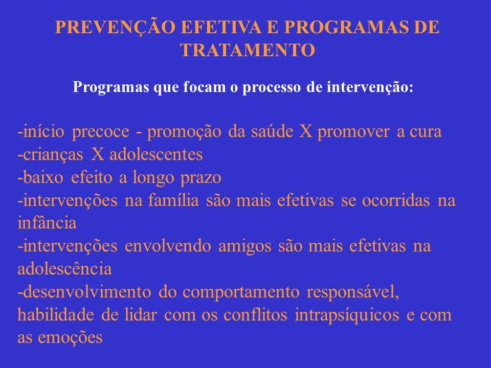 PREVENÇÃO EFETIVA E PROGRAMAS DE TRATAMENTO Programas que focam o processo de intervenção: -início precoce - promoção da saúde X promover a cura -cria