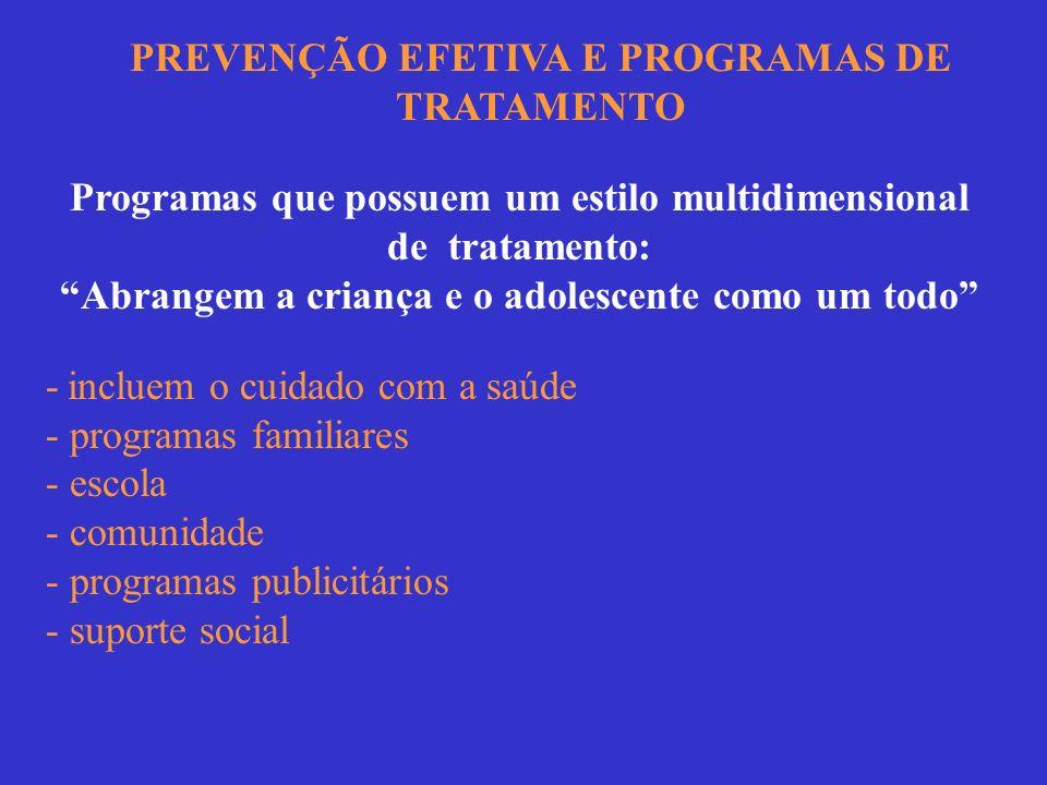 PREVENÇÃO EFETIVA E PROGRAMAS DE TRATAMENTO Programas que possuem um estilo multidimensional de tratamento: Abrangem a criança e o adolescente como um