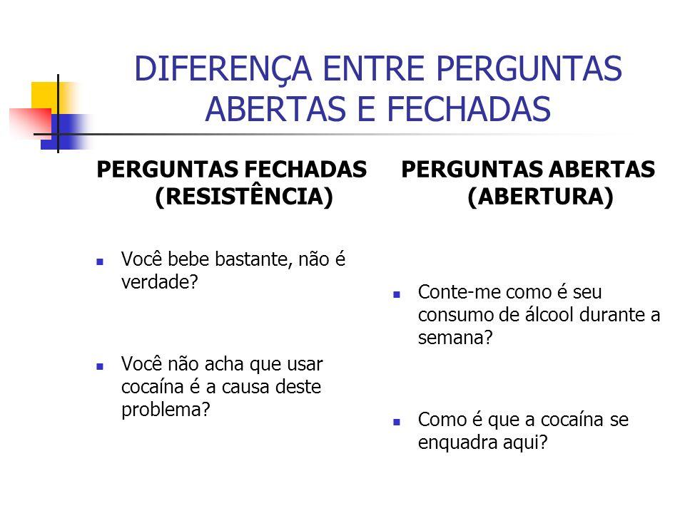 DIFERENÇA ENTRE PERGUNTAS ABERTAS E FECHADAS PERGUNTAS FECHADAS (RESISTÊNCIA) Você bebe bastante, não é verdade? Você não acha que usar cocaína é a ca