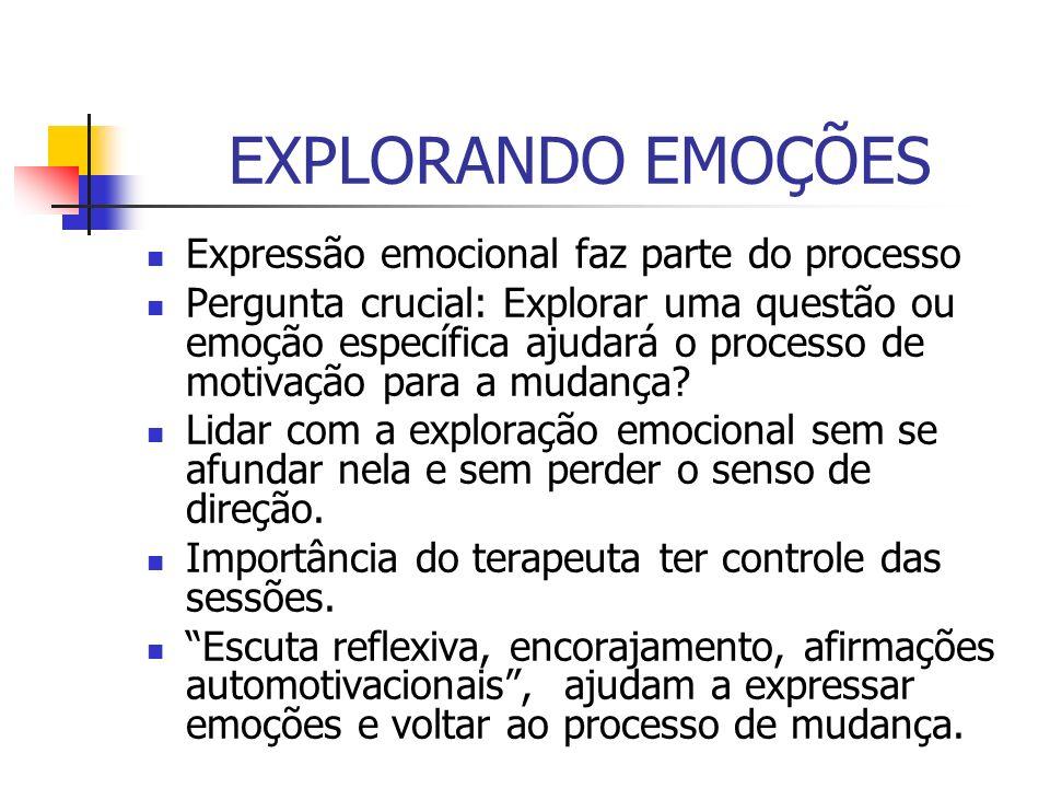 EXPLORANDO EMOÇÕES Expressão emocional faz parte do processo Pergunta crucial: Explorar uma questão ou emoção específica ajudará o processo de motivaç