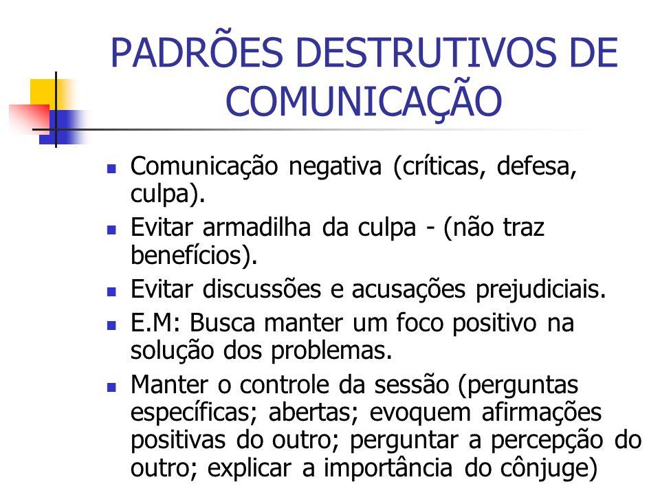 PADRÕES DESTRUTIVOS DE COMUNICAÇÃO Comunicação negativa (críticas, defesa, culpa). Evitar armadilha da culpa - (não traz benefícios). Evitar discussõe