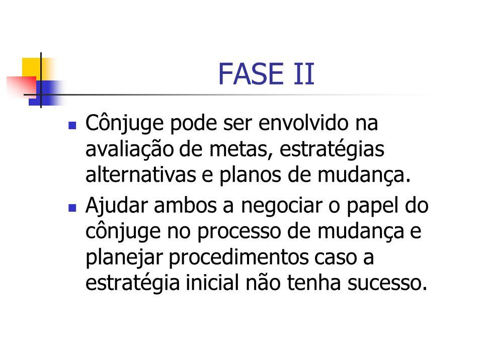 FASE II Cônjuge pode ser envolvido na avaliação de metas, estratégias alternativas e planos de mudança. Ajudar ambos a negociar o papel do cônjuge no