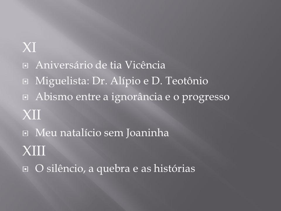 XI Aniversário de tia Vicência Miguelista: Dr. Alípio e D. Teotônio Abismo entre a ignorância e o progresso XII Meu natalício sem Joaninha XIII O silê