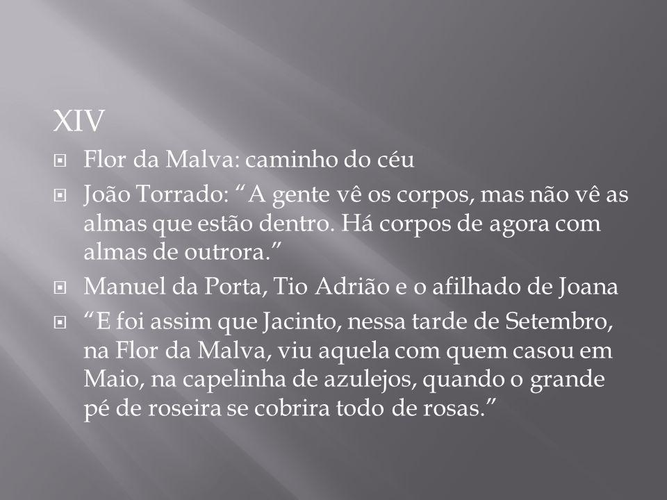 XIV Flor da Malva: caminho do céu João Torrado: A gente vê os corpos, mas não vê as almas que estão dentro. Há corpos de agora com almas de outrora. M