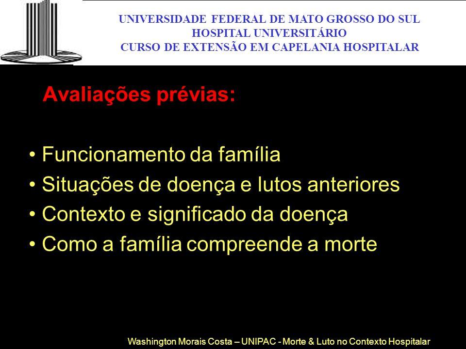 Avaliações prévias: Funcionamento da família Situações de doença e lutos anteriores Contexto e significado da doença Como a família compreende a morte