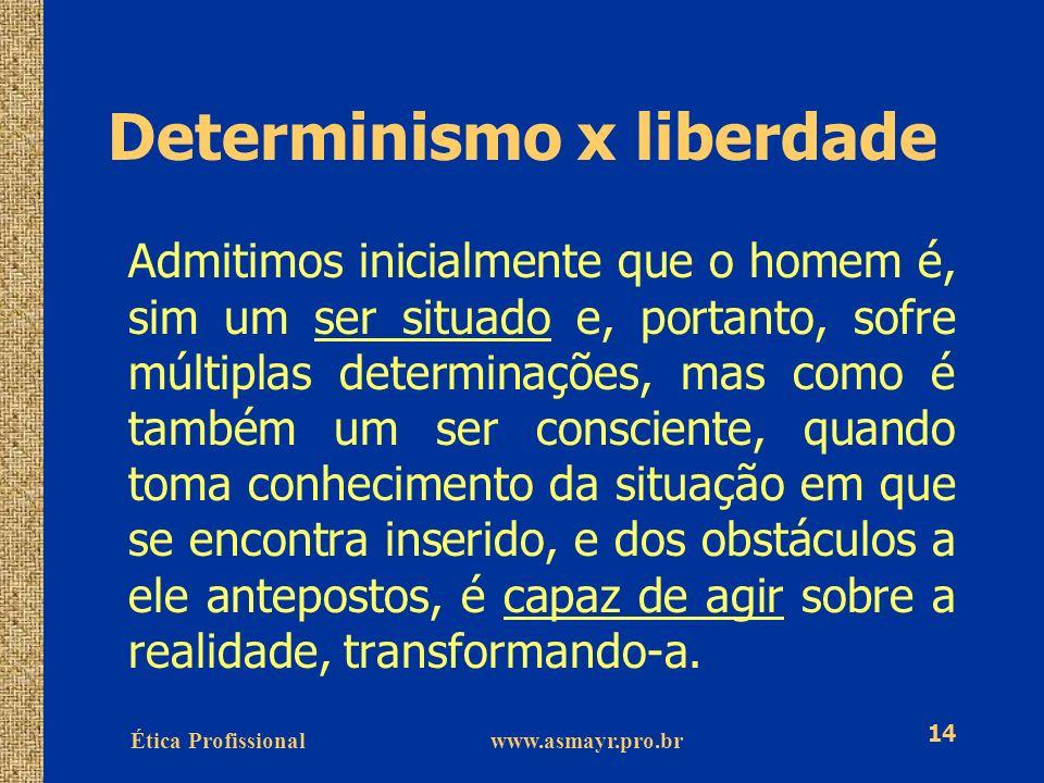 Ética Profissional www.asmayr.pro.br 14 Determinismo x liberdade Admitimos inicialmente que o homem é, sim um ser situado e, portanto, sofre múltiplas