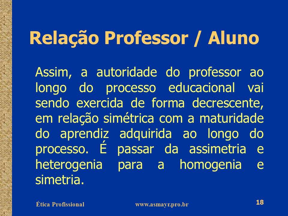 Ética Profissional www.asmayr.pro.br 18 Relação Professor / Aluno Assim, a autoridade do professor ao longo do processo educacional vai sendo exercida