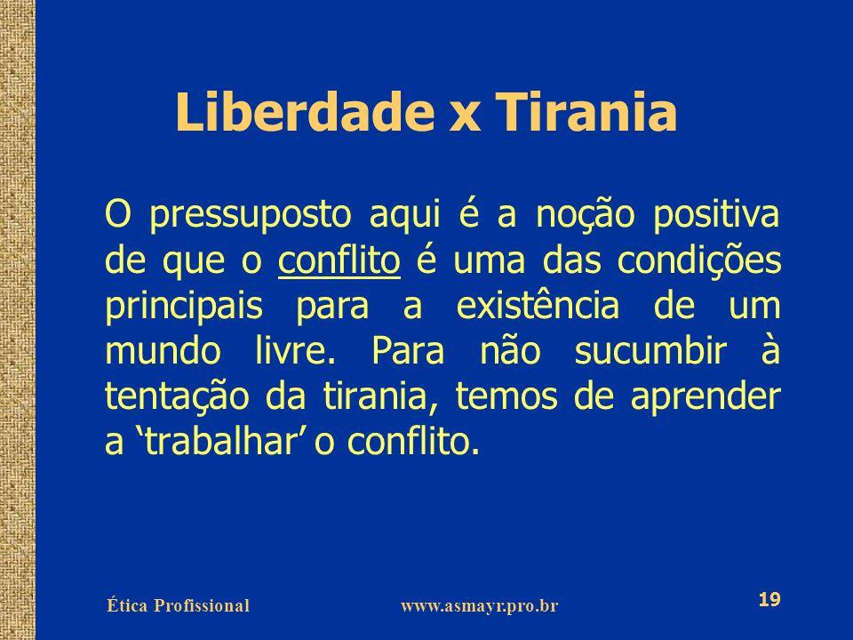 Ética Profissional www.asmayr.pro.br 19 Liberdade x Tirania O pressuposto aqui é a noção positiva de que o conflito é uma das condições principais par