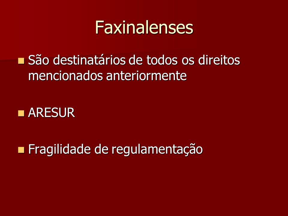 Faxinalenses São destinatários de todos os direitos mencionados anteriormente São destinatários de todos os direitos mencionados anteriormente ARESUR