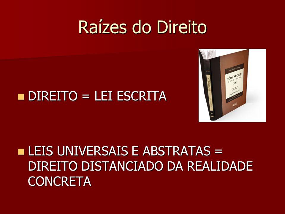 Raízes do Direito DIREITO = LEI ESCRITA DIREITO = LEI ESCRITA LEIS UNIVERSAIS E ABSTRATAS = DIREITO DISTANCIADO DA REALIDADE CONCRETA LEIS UNIVERSAIS