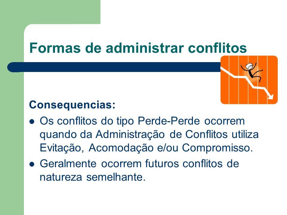 Formas de administrar conflitos: 1. Conflito Perde-Perde Ocorre quando nenhuma das partes consegue realmente o que quer.