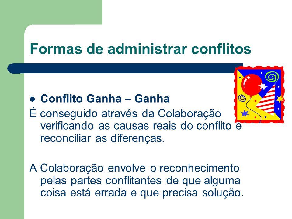 Formas de administrar conflitos 2. Conflito Ganha – Perde Nesta modalidade de conflito uma das partes consegue o que quer às custas e exclusão da outr