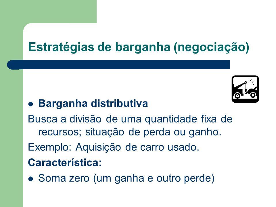 Estratégias de barganha (negociação) Barganha Integrativa Busca um ou mais acordos que possam gerar uma solução Ganho – Ganho. Exemplo: Crédito para e