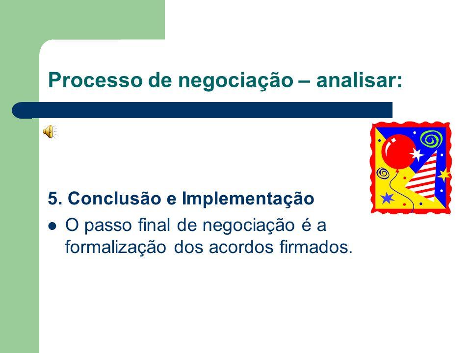 Processo de negociação – analisar: 4. Barganha e Solução de Problemas A essência do processo de barganha é o toma-lá-dá-cá na tentativa de atingir o a