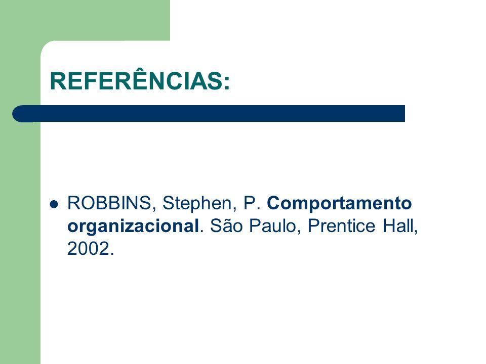 REFERÊNCIAS: PICKERING, Peg. Como administrar conflitos empresariais. São Paulo, Market Books, 1999. SCHERMERHORN, Jr., John R.; HUNT; James, G; OSBOR