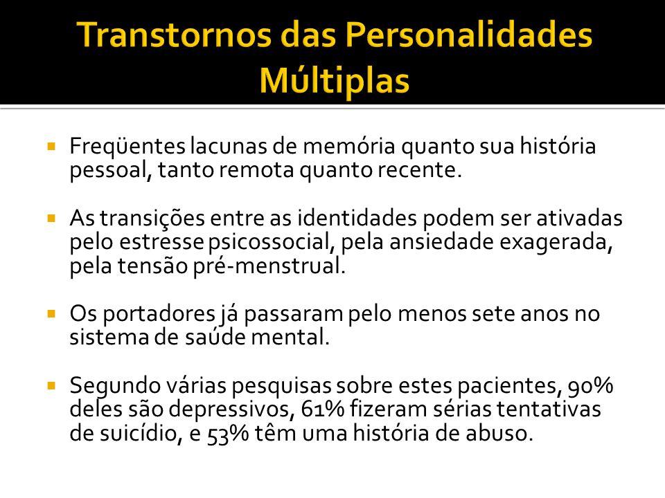 Freqüentes lacunas de memória quanto sua história pessoal, tanto remota quanto recente. As transições entre as identidades podem ser ativadas pelo est