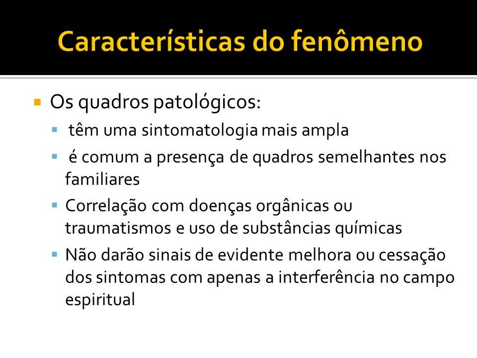 Os quadros patológicos: têm uma sintomatologia mais ampla é comum a presença de quadros semelhantes nos familiares Correlação com doenças orgânicas ou