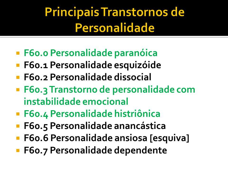 F60.0 Personalidade paranóica F60.1 Personalidade esquizóide F60.2 Personalidade dissocial F60.3 Transtorno de personalidade com instabilidade emocion