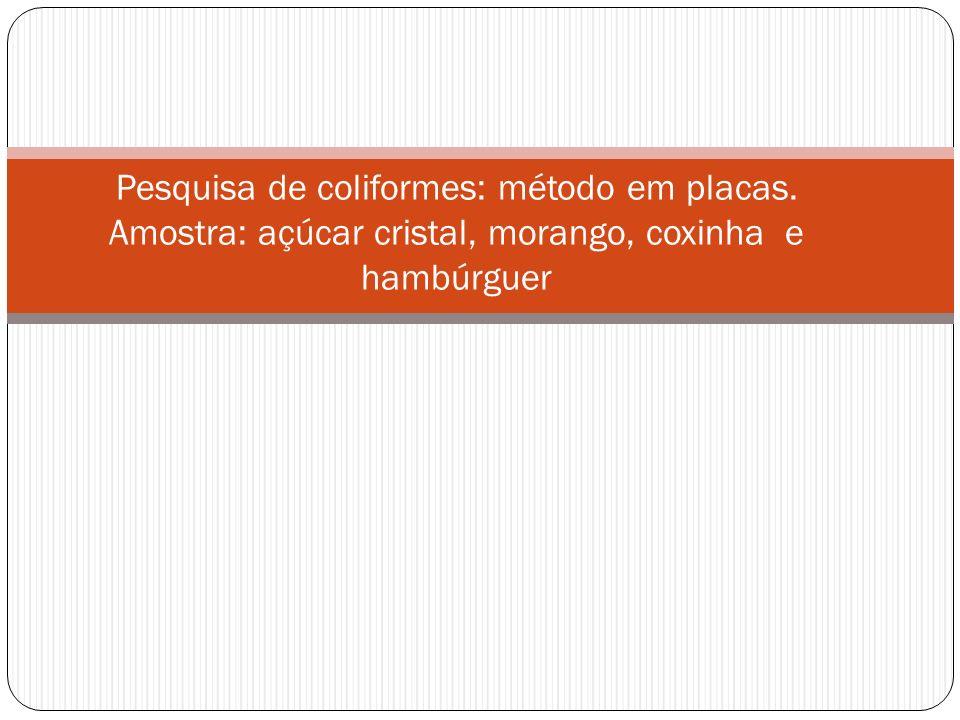 Pesquisa de coliformes: método em placas. Amostra: açúcar cristal, morango, coxinha e hambúrguer