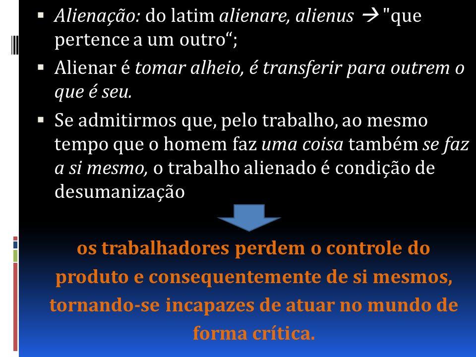 Alienação: do latim alienare, alienus