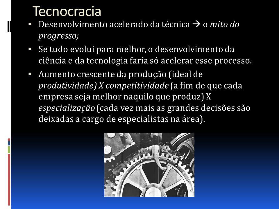 Tecnocracia Desenvolvimento acelerado da técnica o mito do progresso; Se tudo evolui para melhor, o desenvolvimento da ciência e da tecnologia faria s