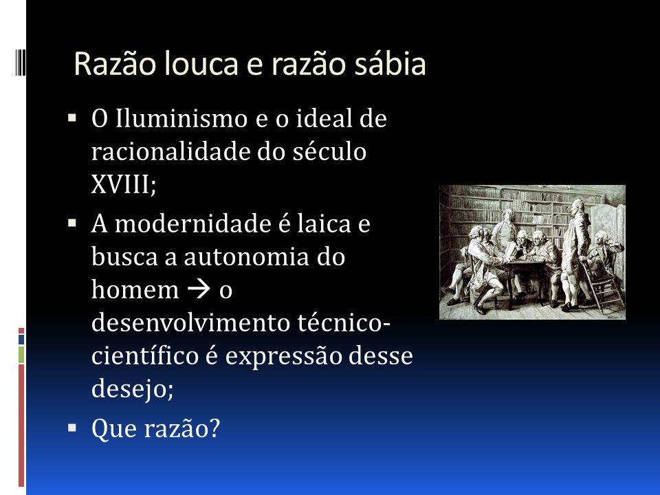 Razão louca e razão sábia O Iluminismo e o ideal de racionalidade do século XVIII; A modernidade é laica e busca a autonomia do homem o desenvolviment