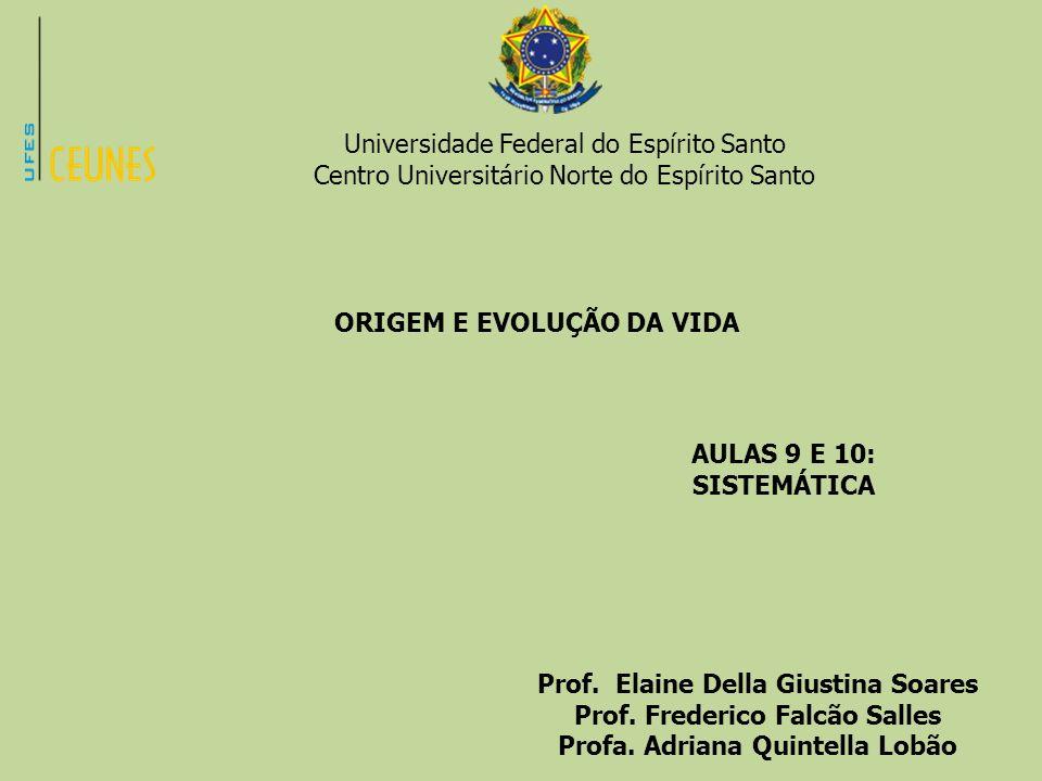 Universidade Federal do Espírito Santo Centro Universitário Norte do Espírito Santo ORIGEM E EVOLUÇÃO DA VIDA AULAS 9 E 10: SISTEMÁTICA Prof. Elaine D
