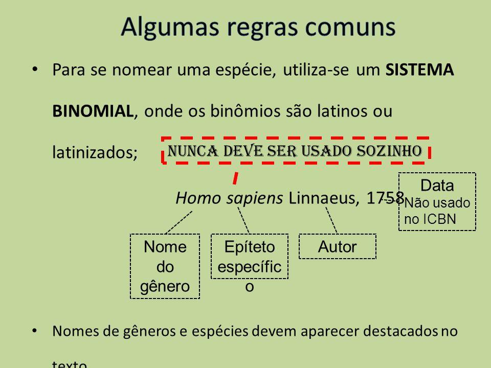 Para se nomear uma espécie, utiliza-se um SISTEMA BINOMIAL, onde os binômios são latinos ou latinizados; Homo sapiens Linnaeus, 1758 Nomes de gêneros