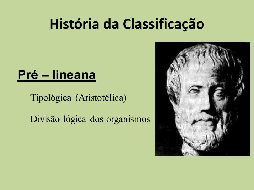 História da Classificação Pré – lineana Tipológica (Aristotélica) Divisão lógica dos organismos