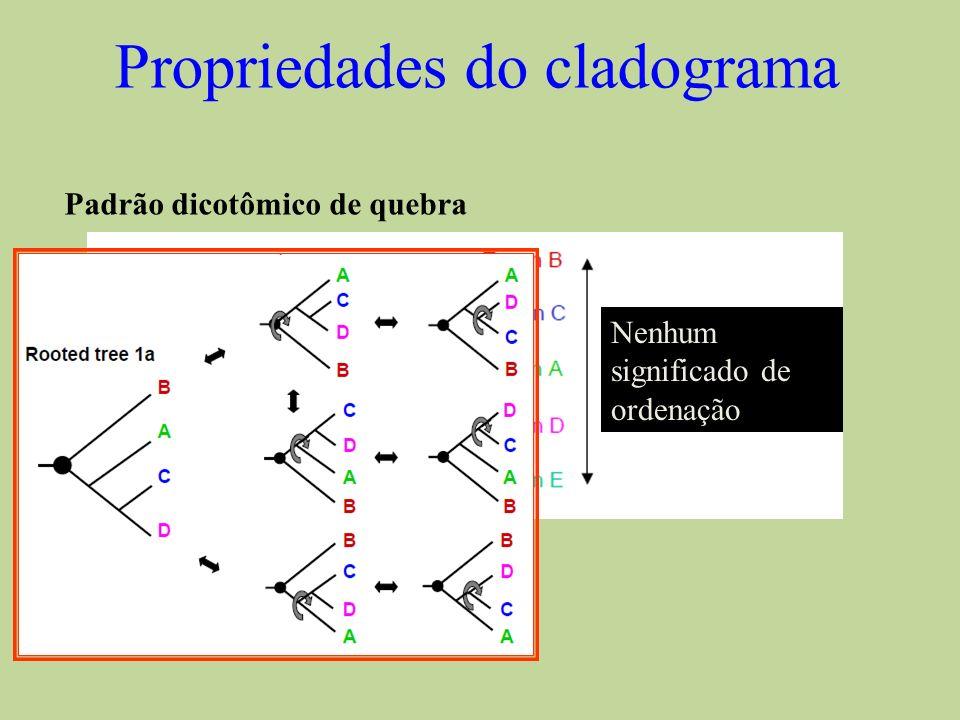 Propriedades do cladograma Nenhum significado de ordenação Padrão dicotômico de quebra Tempo relativo