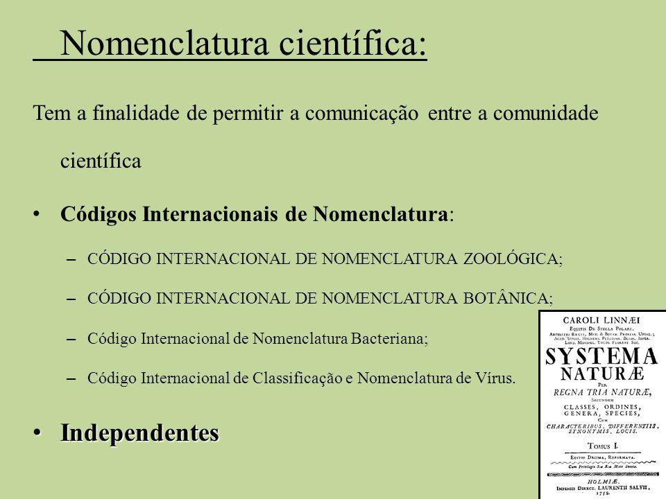 Nomenclatura científica: Tem a finalidade de permitir a comunicação entre a comunidade científica Códigos Internacionais de Nomenclatura: – CÓDIGO INT