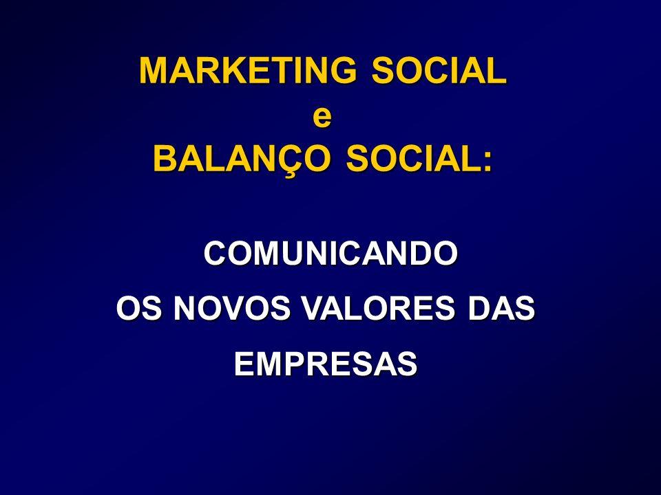 MARKETING SOCIAL e BALANÇO SOCIAL: COMUNICANDO COMUNICANDO OS NOVOS VALORES DAS EMPRESAS