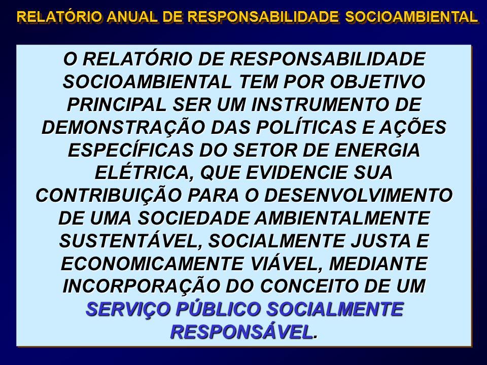 O RELATÓRIO DE RESPONSABILIDADE SOCIOAMBIENTAL TEM POR OBJETIVO PRINCIPAL SER UM INSTRUMENTO DE DEMONSTRAÇÃO DAS POLÍTICAS E AÇÕES ESPECÍFICAS DO SETO