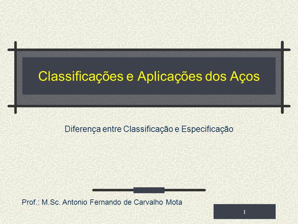 Classificações e Aplicações dos Aços Diferença entre Classificação e Especificação 1 Prof.: M.Sc. Antonio Fernando de Carvalho Mota