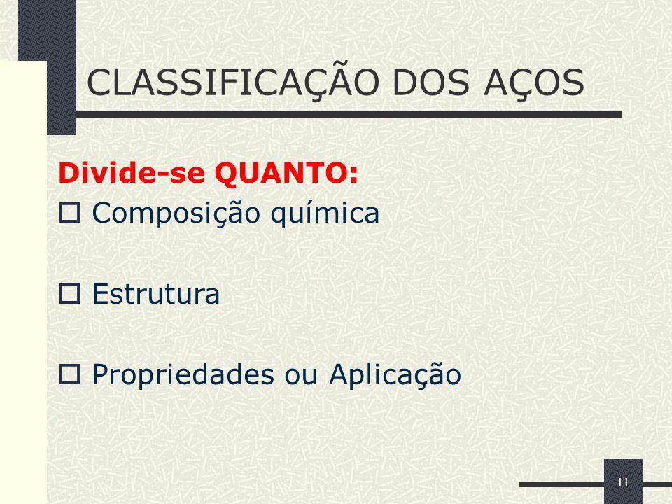 11 CLASSIFICAÇÃO DOS AÇOS Divide-se QUANTO: Composição química Estrutura Propriedades ou Aplicação