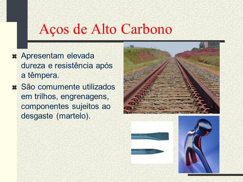 Aços de Alto Carbono Apresentam elevada dureza e resistência após a têmpera. São comumente utilizados em trilhos, engrenagens, componentes sujeitos ao