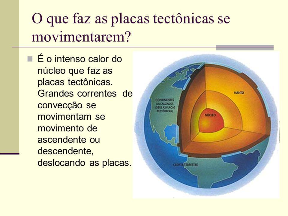 O que faz as placas tectônicas se movimentarem? É o intenso calor do núcleo que faz as placas tectônicas. Grandes correntes de convecção se movimentam