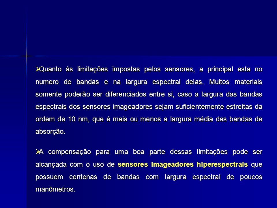 sensores imageadores sensores imageadores hiperespectrais: hiperespectrais: Airborne Visível/Infrared Airborne Visível/Infrared Imaging Spectrometer Imaging Spectrometer (AVIRIS)-224 bandas (AVIRIS)-224 bandas Geophysical and Geophysical and Enverimental Research Enverimental Research Spectrometer (GERIS)-63 Bandas Spectrometer (GERIS)-63 Bandas