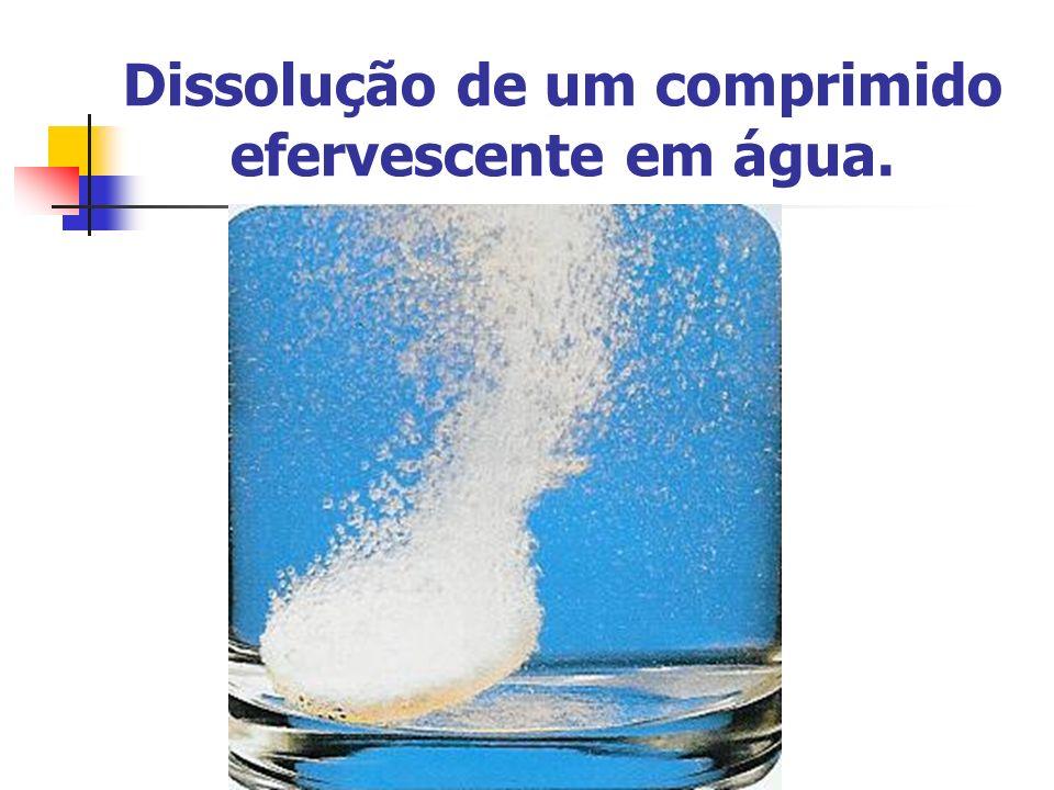 Dissolução de um comprimido efervescente em água.