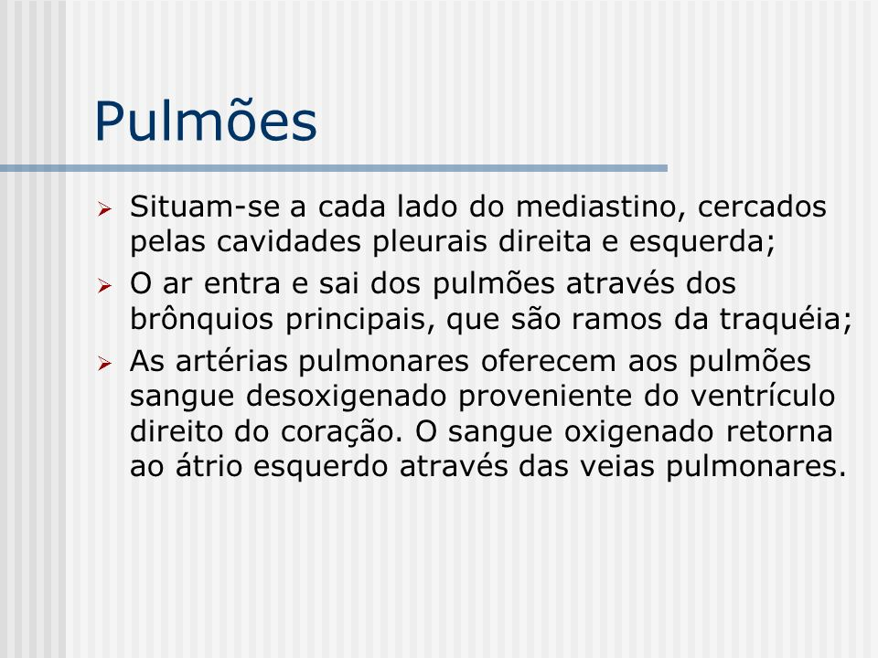 Pulmões Situam-se a cada lado do mediastino, cercados pelas cavidades pleurais direita e esquerda; O ar entra e sai dos pulmões através dos brônquios
