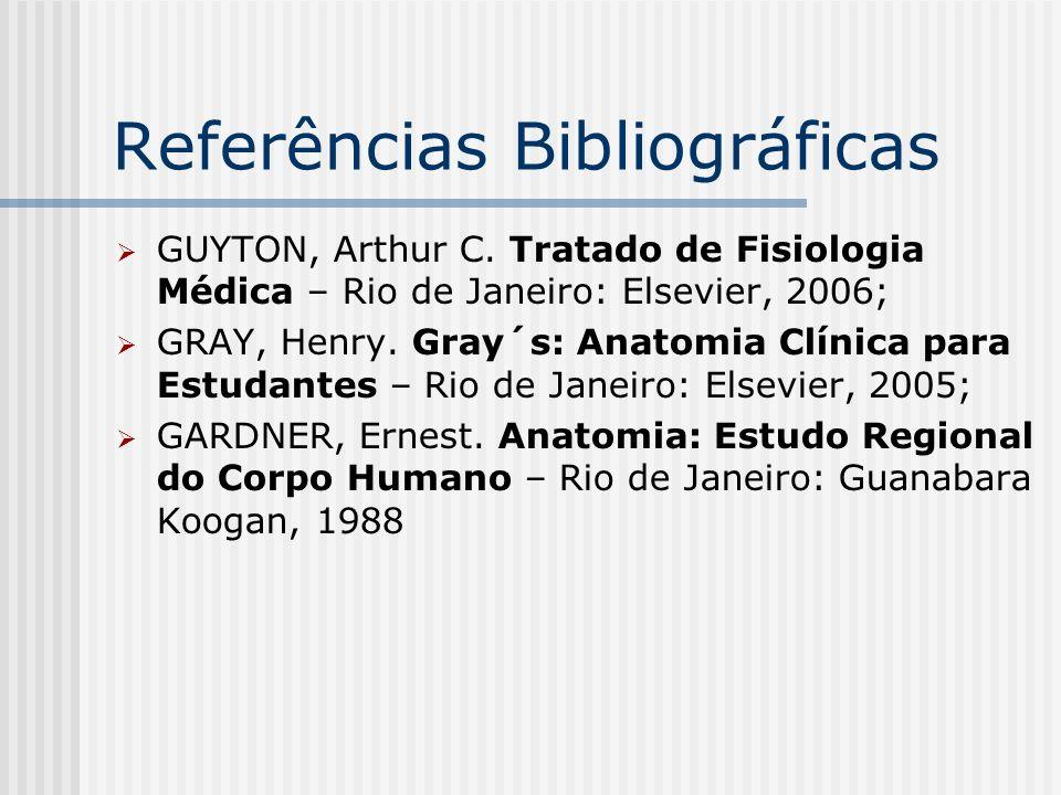 Referências Bibliográficas GUYTON, Arthur C. Tratado de Fisiologia Médica – Rio de Janeiro: Elsevier, 2006; GRAY, Henry. Gray´s: Anatomia Clínica para