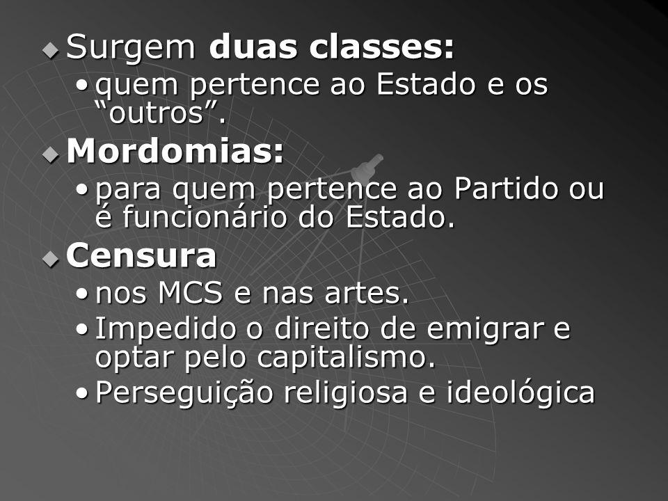 Surgem duas classes: Surgem duas classes: quem pertence ao Estado e os outros.quem pertence ao Estado e os outros. Mordomias: Mordomias: para quem per
