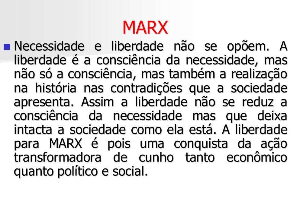 MARX Necessidade e liberdade não se opõem. A liberdade é a consciência da necessidade, mas não só a consciência, mas também a realização na história n