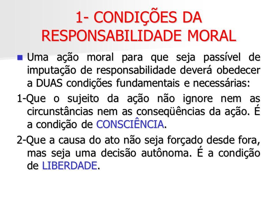 1- CONDIÇÕES DA RESPONSABILIDADE MORAL Uma ação moral para que seja passível de imputação de responsabilidade deverá obedecer a DUAS condições fundame