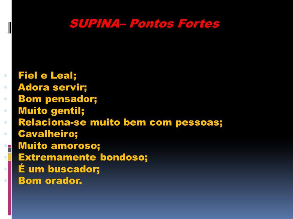 SUPINA– Pontos Fortes Fiel e Leal; Adora servir; Bom pensador; Muito gentil; Relaciona-se muito bem com pessoas; Cavalheiro; Muito amoroso; Extremamen
