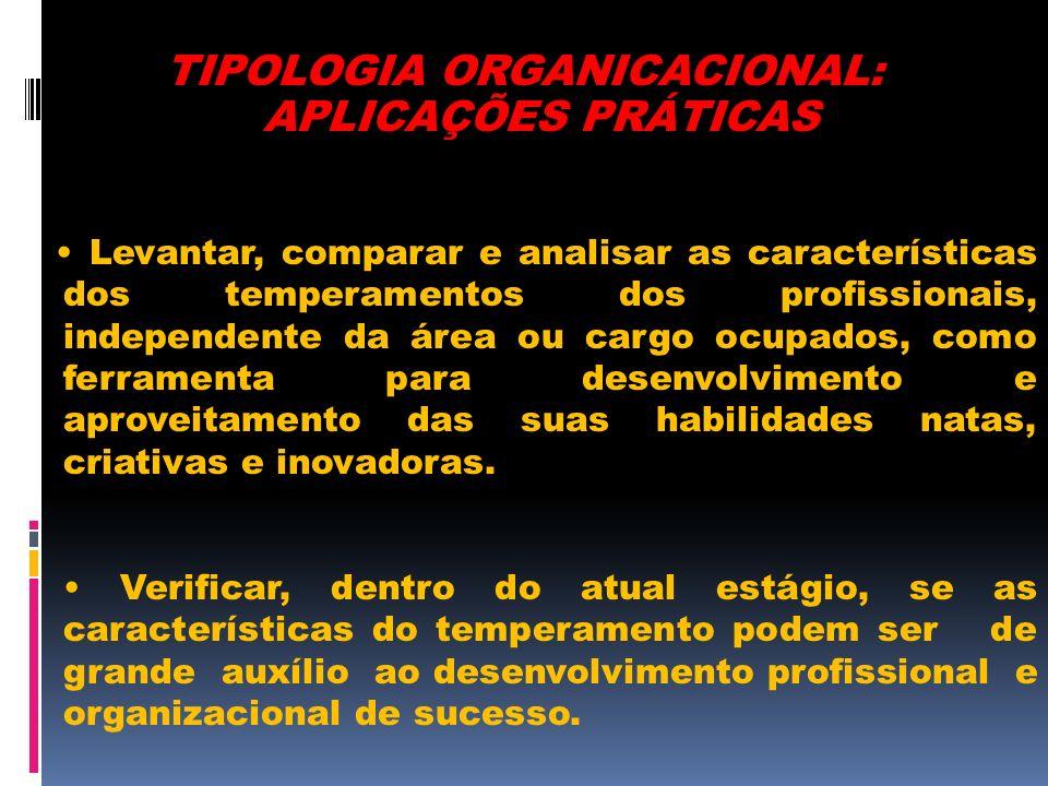 TIPOLOGIA ORGANICACIONAL: APLICAÇÕES PRÁTICAS Levantar, comparar e analisar as características dos temperamentos dos profissionais, independente da ár