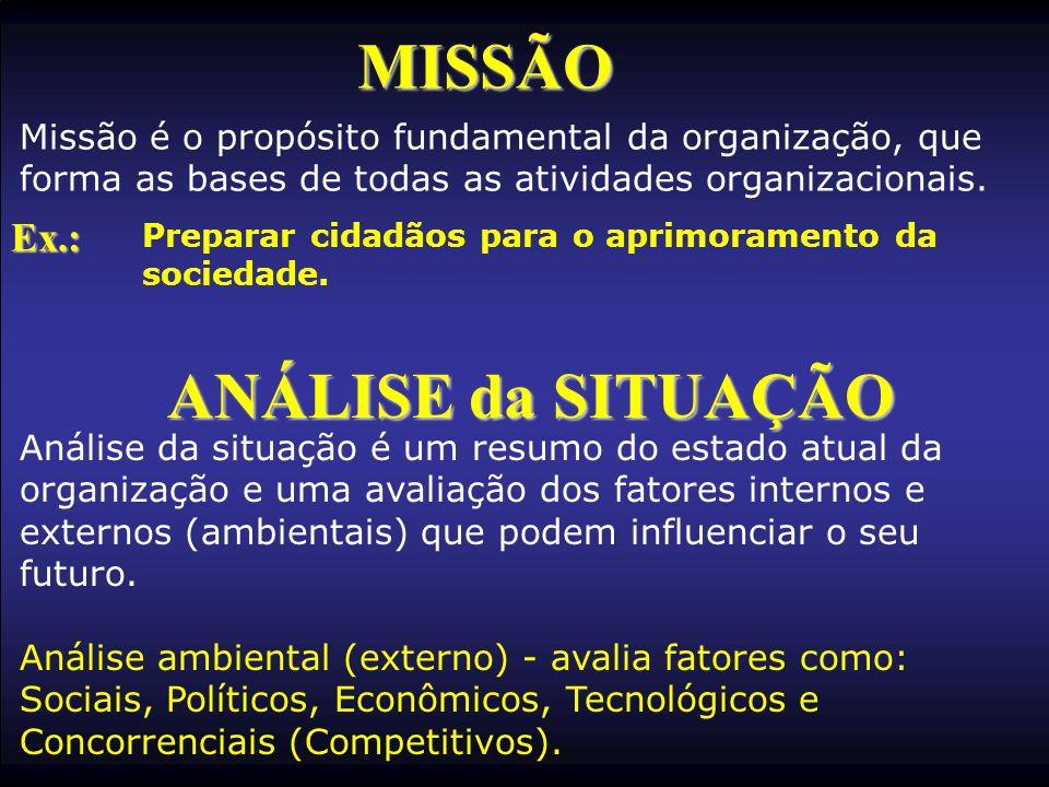 MISSÃO Missão é o propósito fundamental da organização, que forma as bases de todas as atividades organizacionais. Ex.: Preparar cidadãos para o aprim