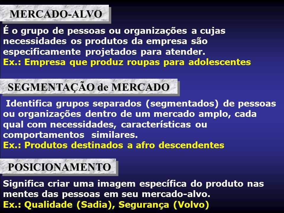 É o grupo de pessoas ou organizações a cujas necessidades os produtos da empresa são especificamente projetados para atender. Ex.: Empresa que produz