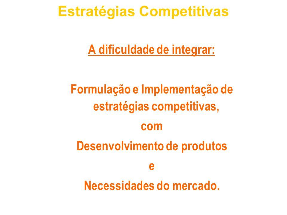 A dificuldade de integrar: Formulação e Implementação de estratégias competitivas, com Desenvolvimento de produtos e Necessidades do mercado. Estratég